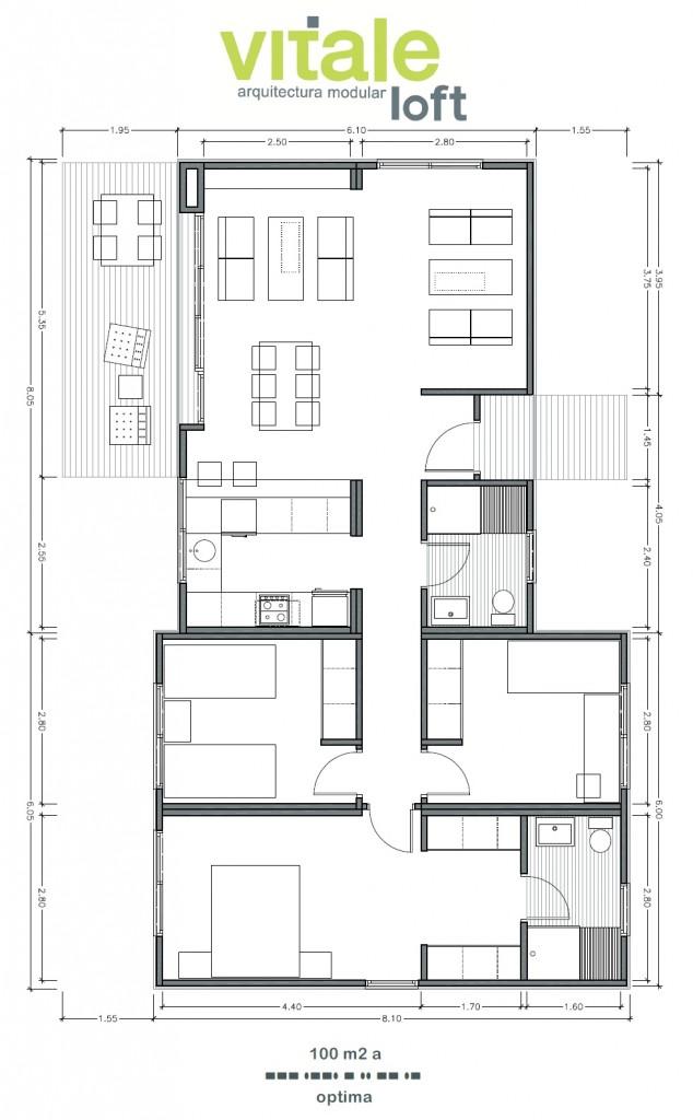 Modelo OPTIMA 100 m2 A VitaleLoft