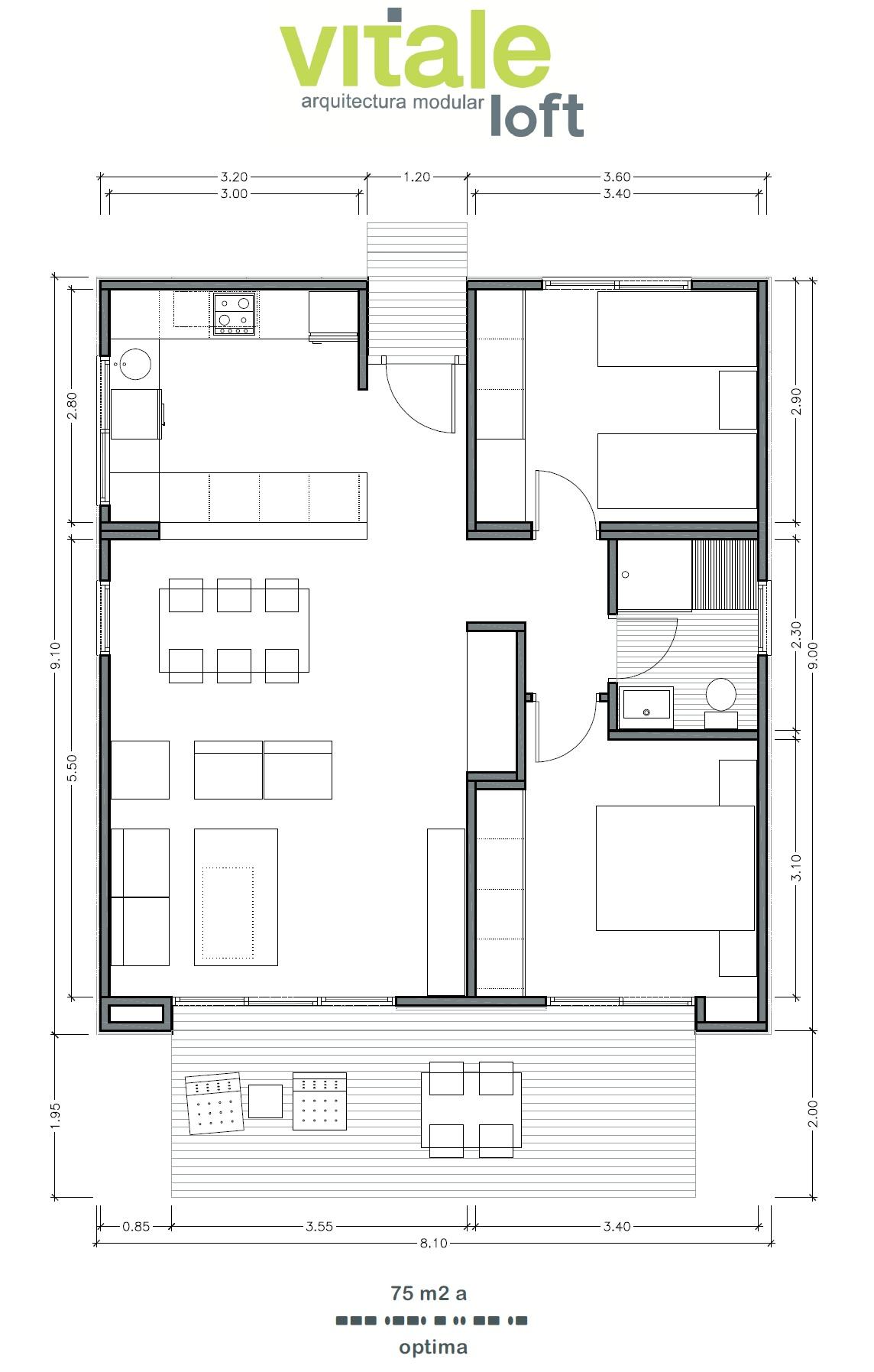 Modelo optima 75 m2 vitale loft - Planos de casas pareadas ...