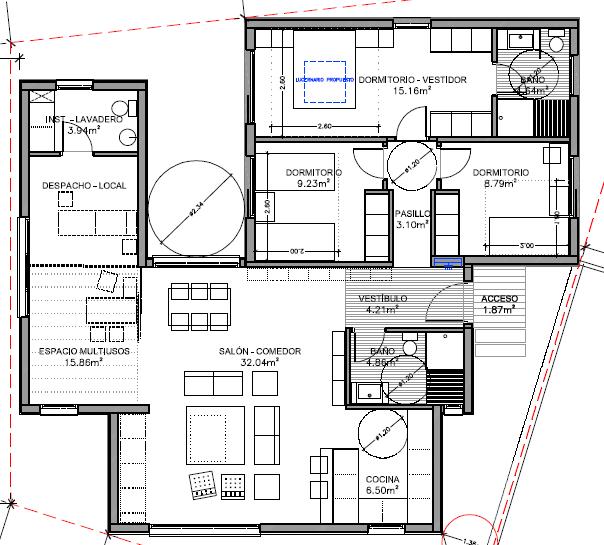Plano casa prefabricada de diseño Barcelona