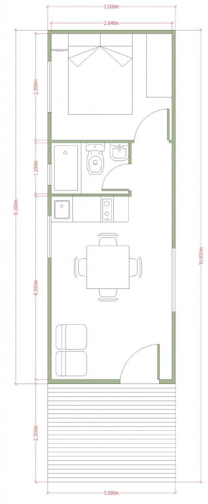 Plano casa oficina prefabricada de 32 m2 con terraza